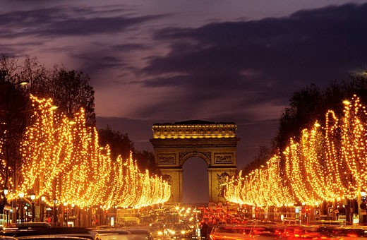 France, Paris, Avenue of the Champs Elysees in Christmas : Stock Photo