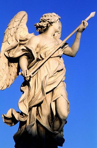 Italy, Latium, Roma, Bernini?s angel on the bridge of Sant´Angelo : Stock Photo