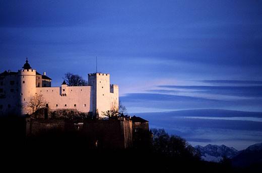 Austria, Salzburg, Hohensalzburg, the old castle dominates the city : Stock Photo