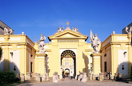 Austria, Lower-Austria, Melk city, entrance of the Basilica´s enclosure : Stock Photo