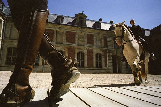 France, Yvelines (78), Versailles, Equestrian Arts Academy, training in the outside ring : Stock Photo