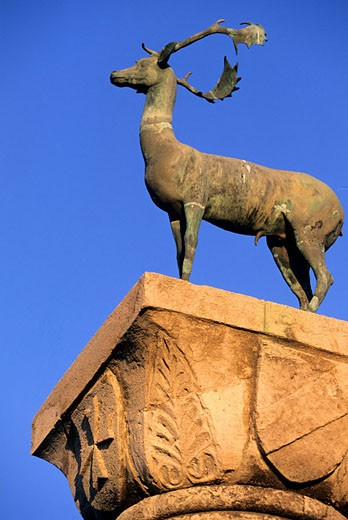 Greece, Dodecanese, Rhodes island, the stag on the top of the column at Mandraki port entrance : Stock Photo