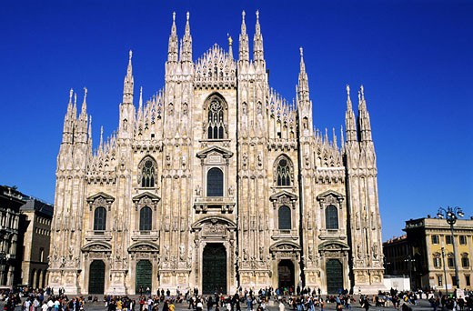 Italy, Lombardy region, Milan, the Duomo Square located in historical center, the Cathedral in Gothic style : Stock Photo