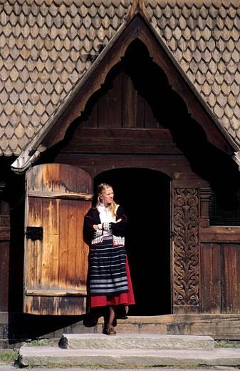 Stock Photo: 1792-58173 Norway, Kristiansand region, Heddal, starvike, a wooden church