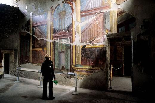 Italy, Campania, Oplontis, frescos at Popee villa : Stock Photo