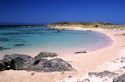 Greece, Crete, Elafonissi island and its pink sand beaches : Stock Photo