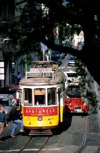 Stock Photo: 1792-59012 Portugal, Estramadura Province, Lisboa, tramway in Alfama District