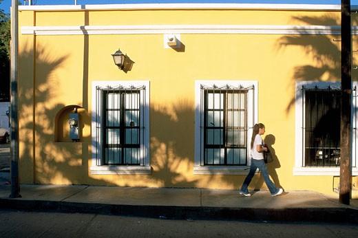 Mexico, Baja California Sur State, Los Cabos, San Jose del Cabo village, inhabitant passing by : Stock Photo