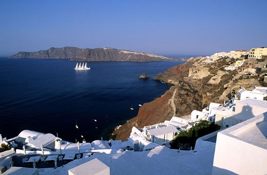 Greece, Cyclades islands, Santorini island, the Caldeira seen from Thira village, with the sailing ship Club Med 1 : Stock Photo