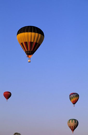 France, Nord (59), flight of hot air balloons in Valenciennes : Stock Photo