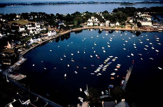 Stock Photo: 1792-60181 France, Morbihan, the gulf of Morbihan, Lamor Baden village aerial view