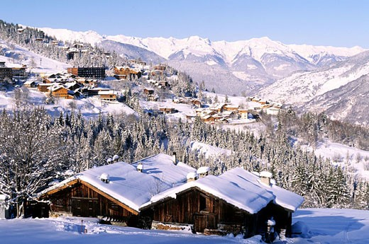 Stock Photo: 1792-60366 France, Savoie (73), Trois Vallees ski area, Courchevel 1550 ski resort