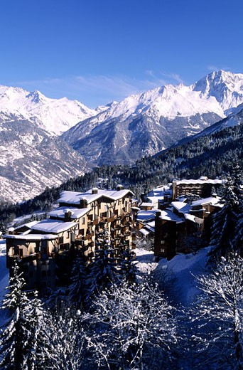 France, Savoie (73), Trois Vallees ski area, La Tania ski resort : Stock Photo