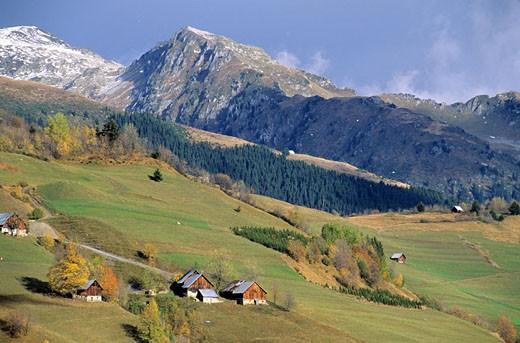 France, Savoie (73), Valmorel, la Lauzière in the background : Stock Photo
