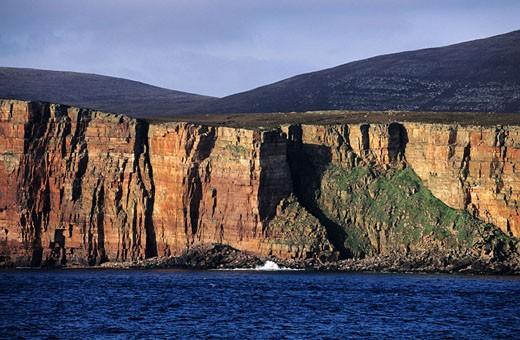 United Kingdom, Scotland, Orkney Islands, cliffs of the western coast of Hoy island : Stock Photo