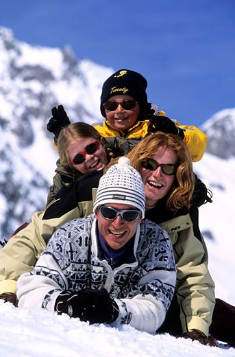 France, Savoie (73), tousist family at Valmorel ski resort (Model Release OK) : Stock Photo