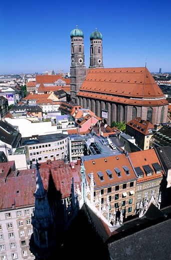 Germany, Bavaria, Munich, the city and Frauenkirche seen from the top of the belfry of the New Town Hall (Neues Rathaus) : Stock Photo