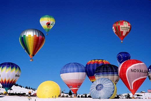 France, Savoie, Les Saisies, gathering of hot air balloons : Stock Photo