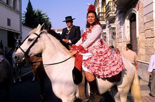 Stock Photo: 1792-61364 Spain, Sanlùcar de Barrameda, starting of the Rocio pilgrimage on Guadalquivir river