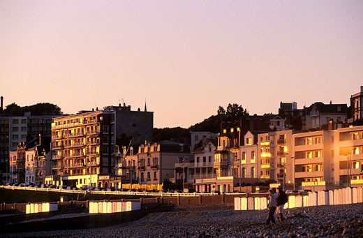 France, Seine-Maritime (76), Le Havre, frontages of buildings lining the beach in twilight : Stock Photo