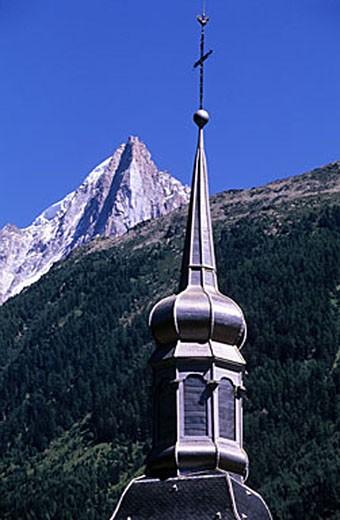 Stock Photo: 1792-62352 France, Haute-Savoie (74), Chamonix, the steeple of the church Saint Michel