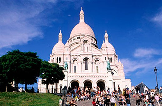 France, Paris (75), Sacre C?ur basilica in Montmartre district : Stock Photo