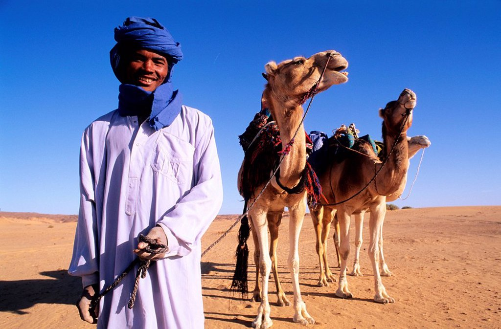 Libya, Sahara, tuareg camel rider in the Tassili of Maghidet : Stock Photo