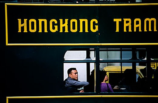 Stock Photo: 1792-63134 China, Hong Kong, Victoria city, Streetcar in the Central district