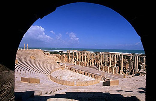 Stock Photo: 1792-64211 Libya, the Roman archaeological site of Leptis Magna (UNESCO World Heritage), theatre