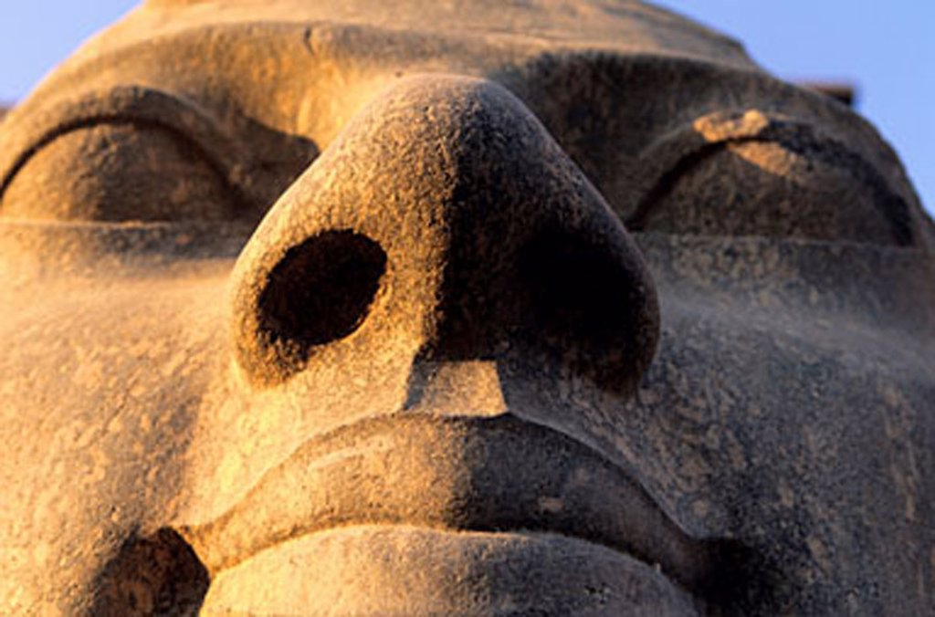 Egypt, Luxor, the Ramesses II´s head at Luxor temple : Stock Photo