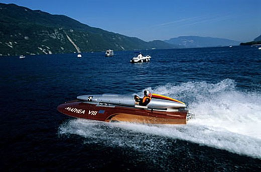 France, Savoie (73), Alpha Romeo racer on Le Bourget lake : Stock Photo