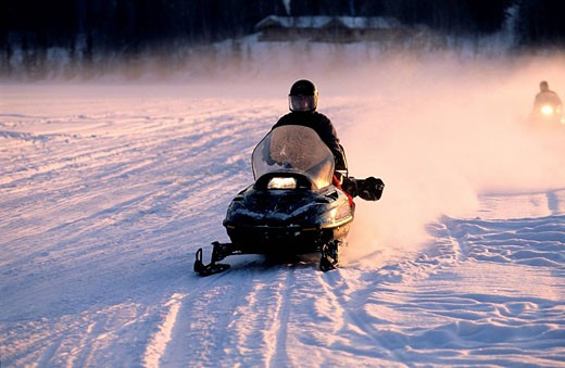 Canada, Quebec Province, excursion in skidoo in Laurentides region : Stock Photo