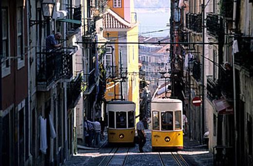 Portugal, Estramadura Province, Lisbon, Barrio Alto District, Elevator da Bica (tramway) : Stock Photo
