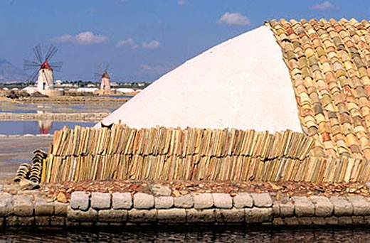 Italy, Sicily, saltworks of Trapani in front of the island of Mozia : Stock Photo