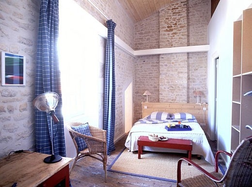 France, Charente Maritime, Ile de Re, Ars en Re village, labelled Les Plus Beaux Villages de France The Most Beautiful Villages of France, bedroom of the Marechal hotel : Stock Photo