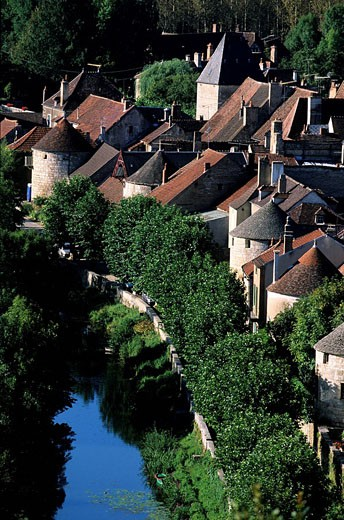 Stock Photo: 1792-66548 France, Yonne, Noyers sur Serein village, labelled Les Plus Beaux Villages de France The Most Beautiful Villages of France, ramparts on Serein riverside