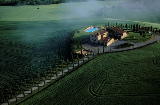 Stock Photo: 1792-66850 Italy, Tuscany, countryside from Siena aerial view of Pienza region