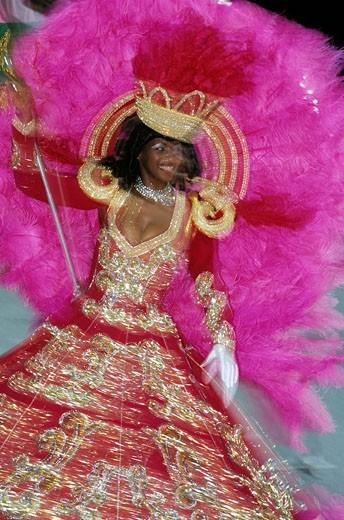 Brazil, Rio de Janeiro Carnival at the Sambodrome 2000, school Primeira de Mangueira : Stock Photo