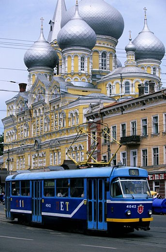 Ukraine, Odessa, Trolley bus in front of the church Panteleymonivsky : Stock Photo