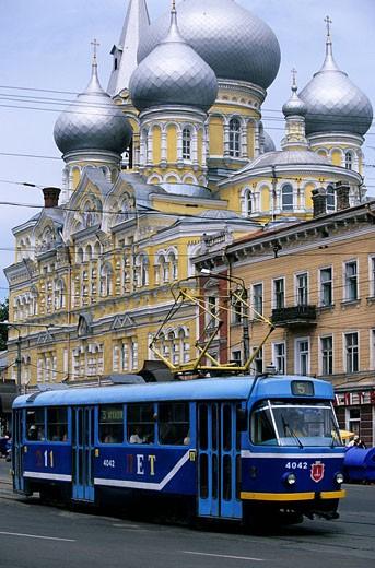 Stock Photo: 1792-67743 Ukraine, Odessa, Trolley bus in front of the church Panteleymonivsky