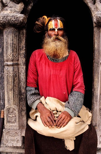 Nepal, following the Annapurna circuit, Kathmandu Valley, listed as World Heritage by UNESCO, Kathmandu, Pashupatinath, saddhu : Stock Photo