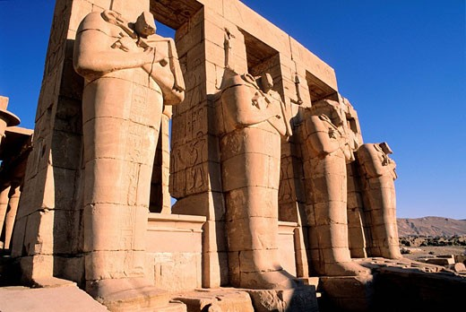 Egypt, Luxor, Theban Necropolis, the Ramesseum, Osiris Pillars : Stock Photo