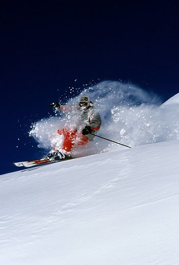 France, Savoie, Meribel, off piste skiing Model Release OK : Stock Photo