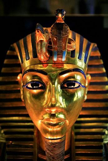 Stock Photo: 1792-69759 Egypt, Cairo, downtown, Egyptian museum, Tuthankhamon funeral mask