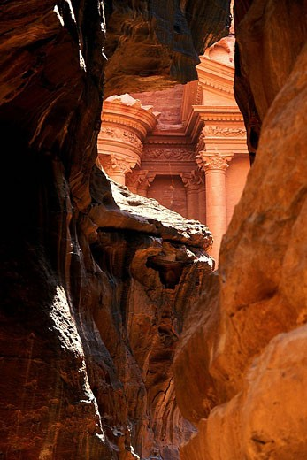 Jordan, Petra, El Khazneh Tomb the Treasury, listed as World Heritage by UNESCO : Stock Photo