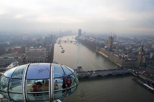 United Kingdom, London, view on London and the Thames from London Big Eye : Stock Photo