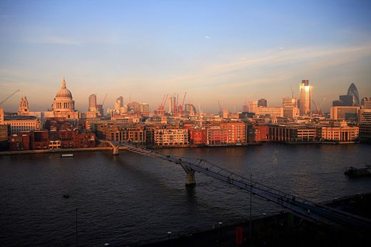 United Kingdom, London, the City district and the Thames : Stock Photo