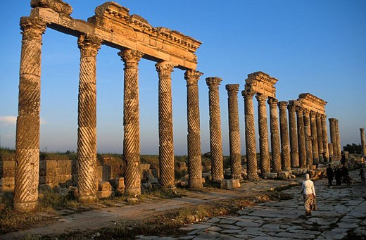Syria, Apamea, Roman city ruins listed as World Heritage by UNESCO, corinthian columns : Stock Photo