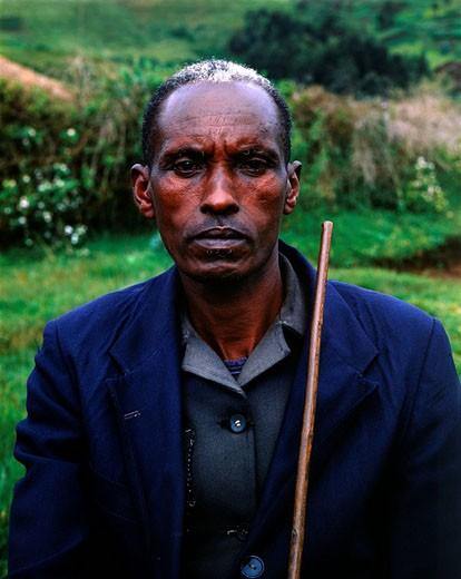 Stock Photo: 1792-71256 Burundi, Bujumbura Province, surroundings of Ijenda, Tutsi chief of a rugo house