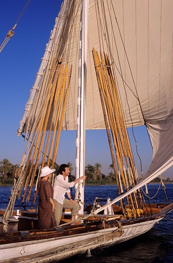 Egypt, Nile Valley, cruise on Nile River, Dahabieh Lazuli cruise ship : Stock Photo